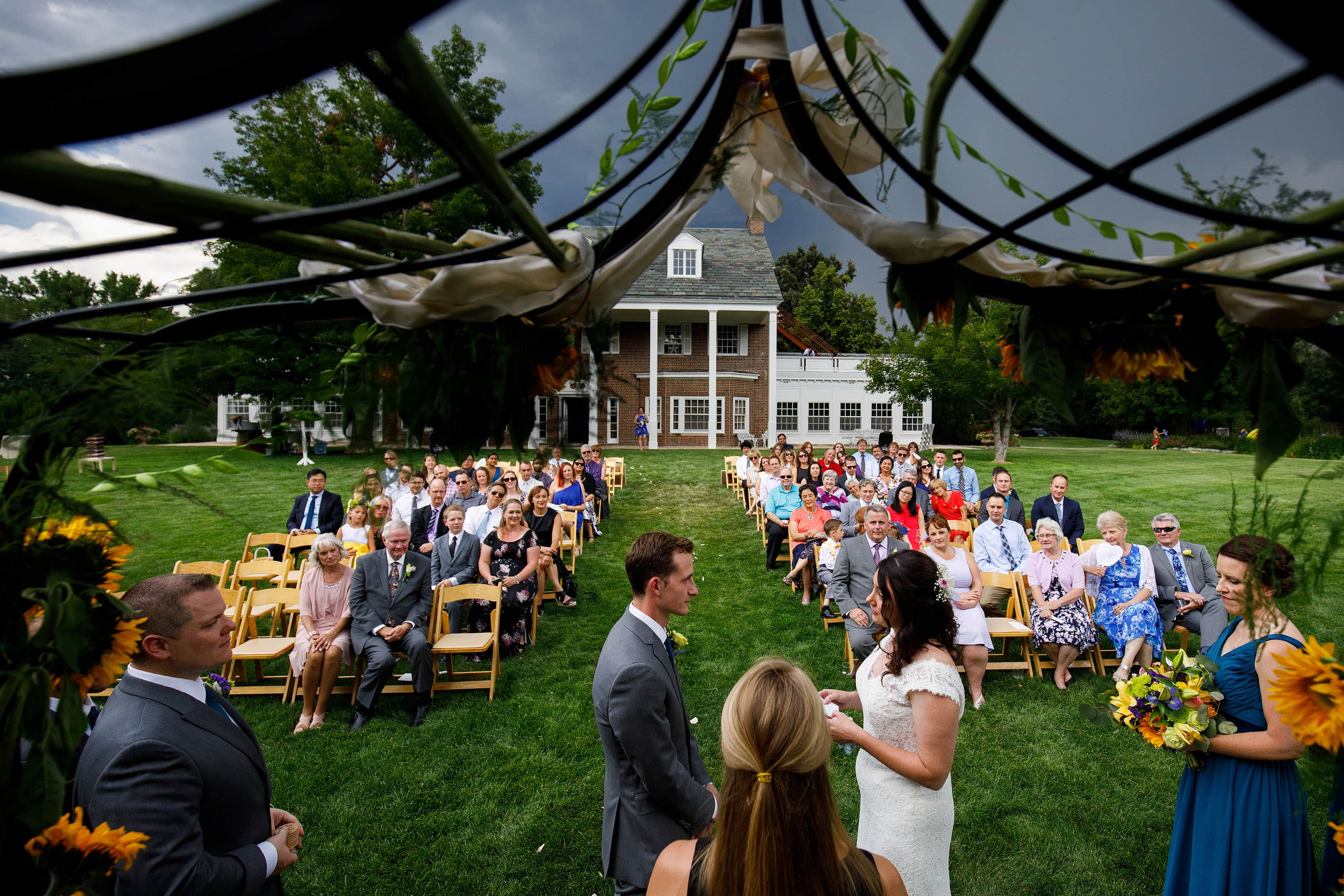 Buell Mansion wedding ceremony on the lawn