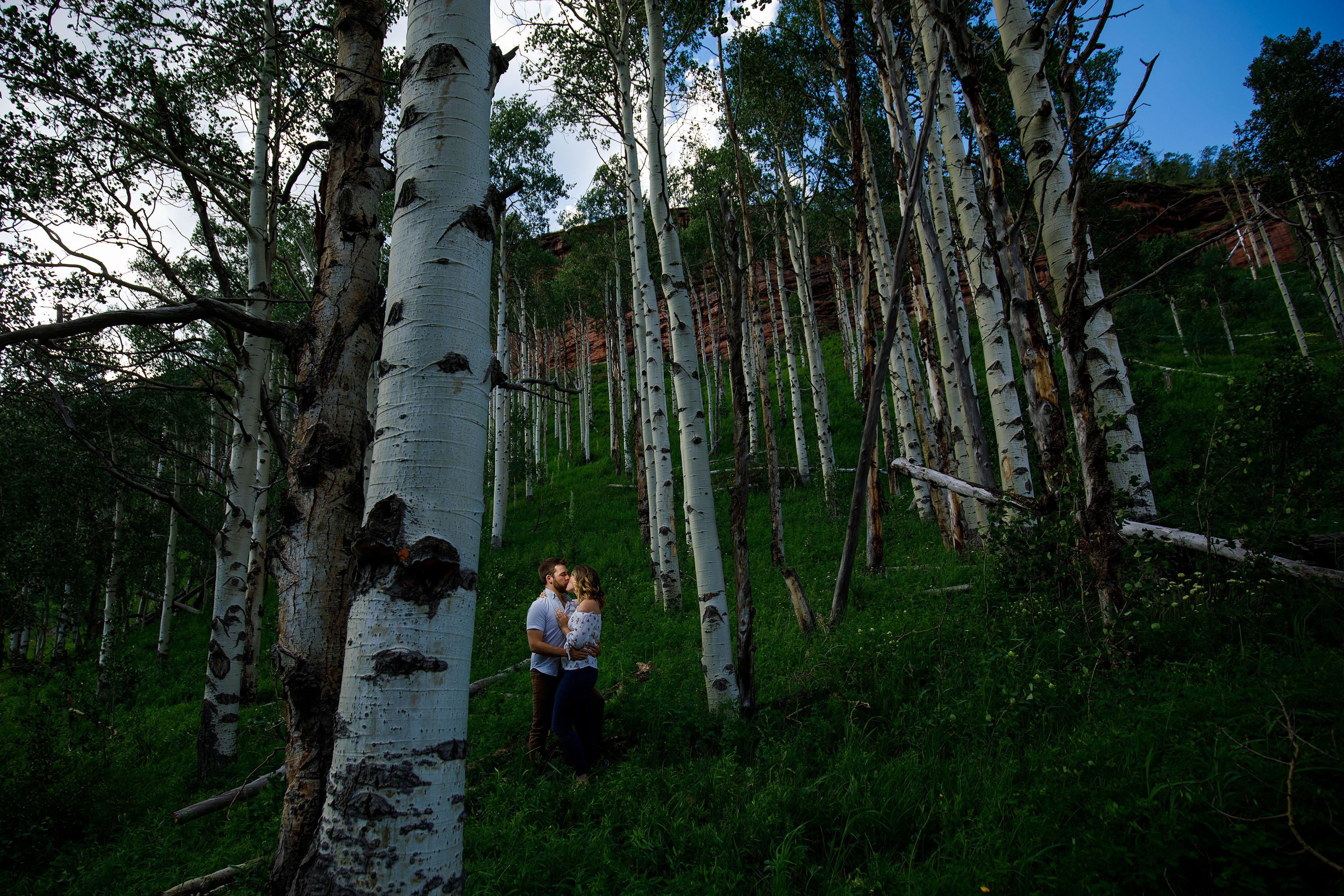 Couple kisses in the aspen trees near Vail