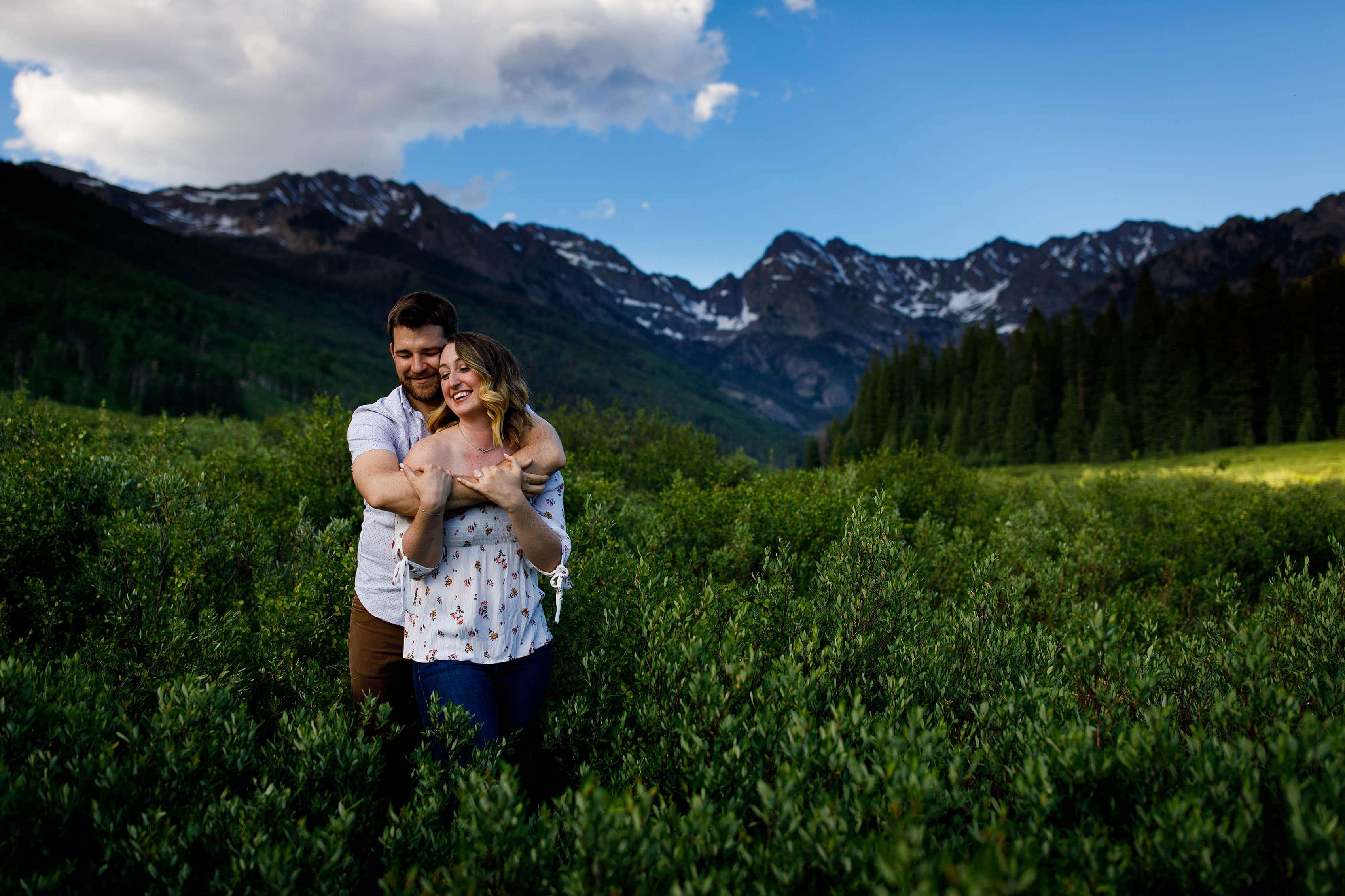Laura and Ryan share a moment at Piney Lake in Vail