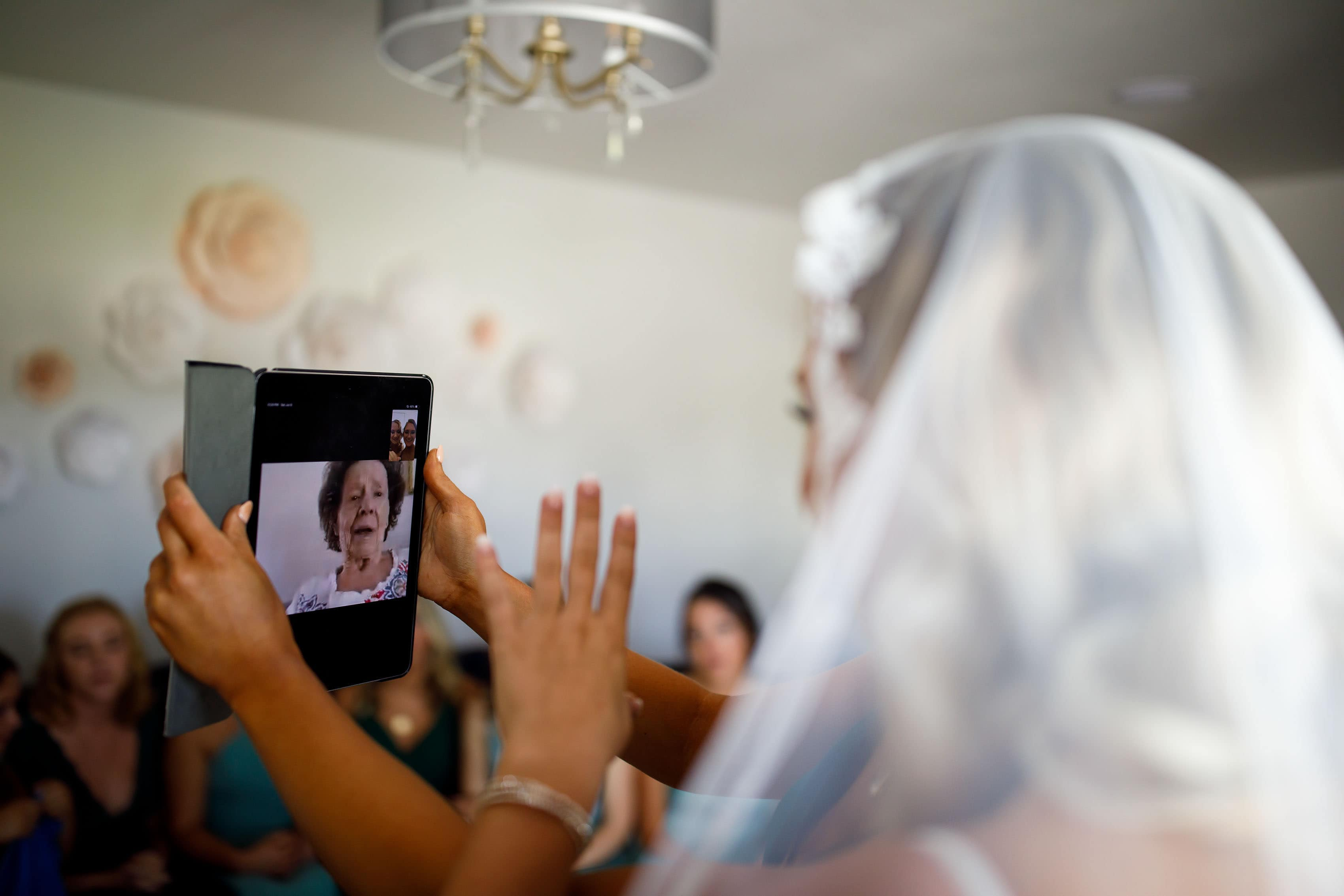 Bride FaceTime calls her grandmother on her wedding day