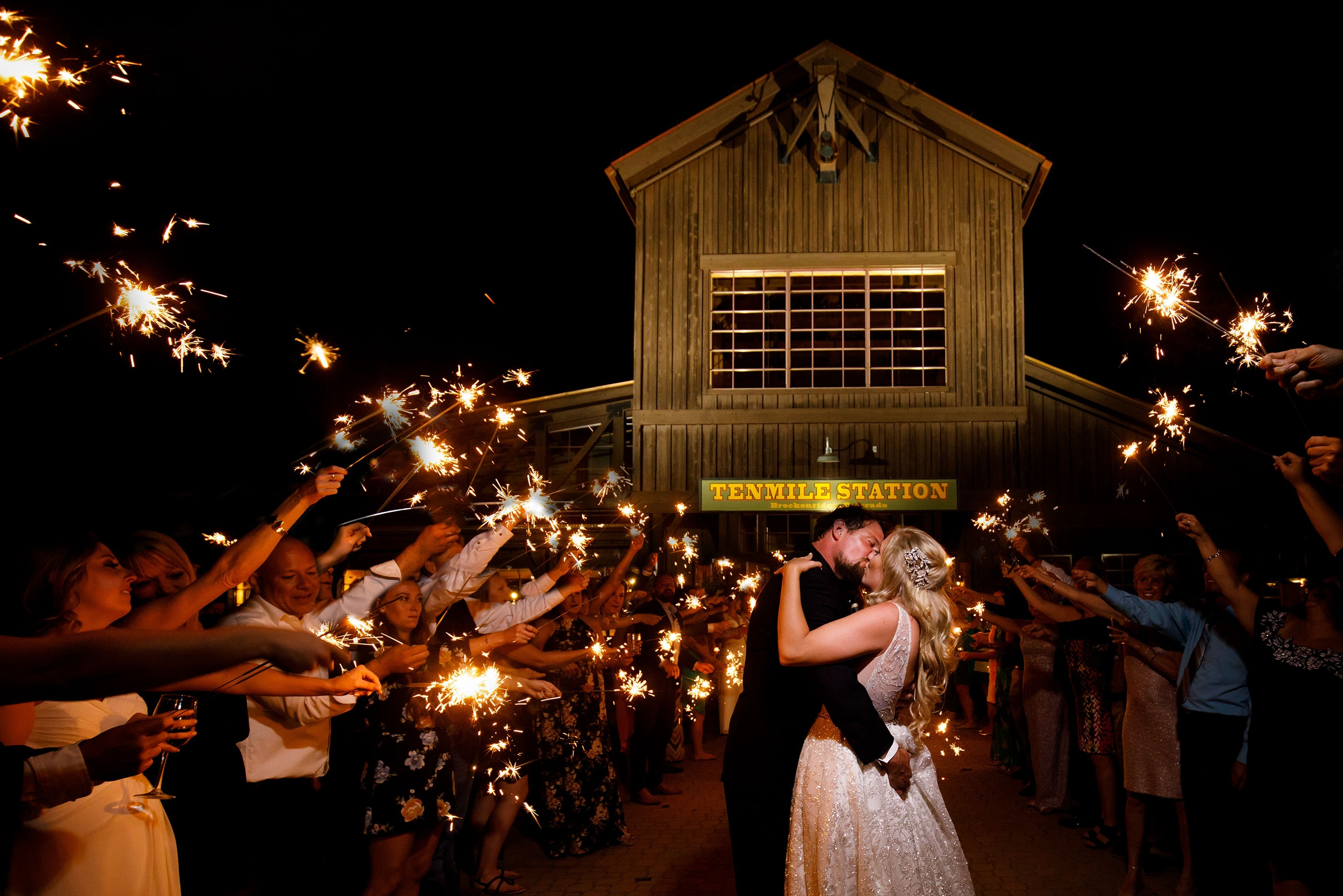 Sparkler exit during a TenMile Station wedding in Breckenridge