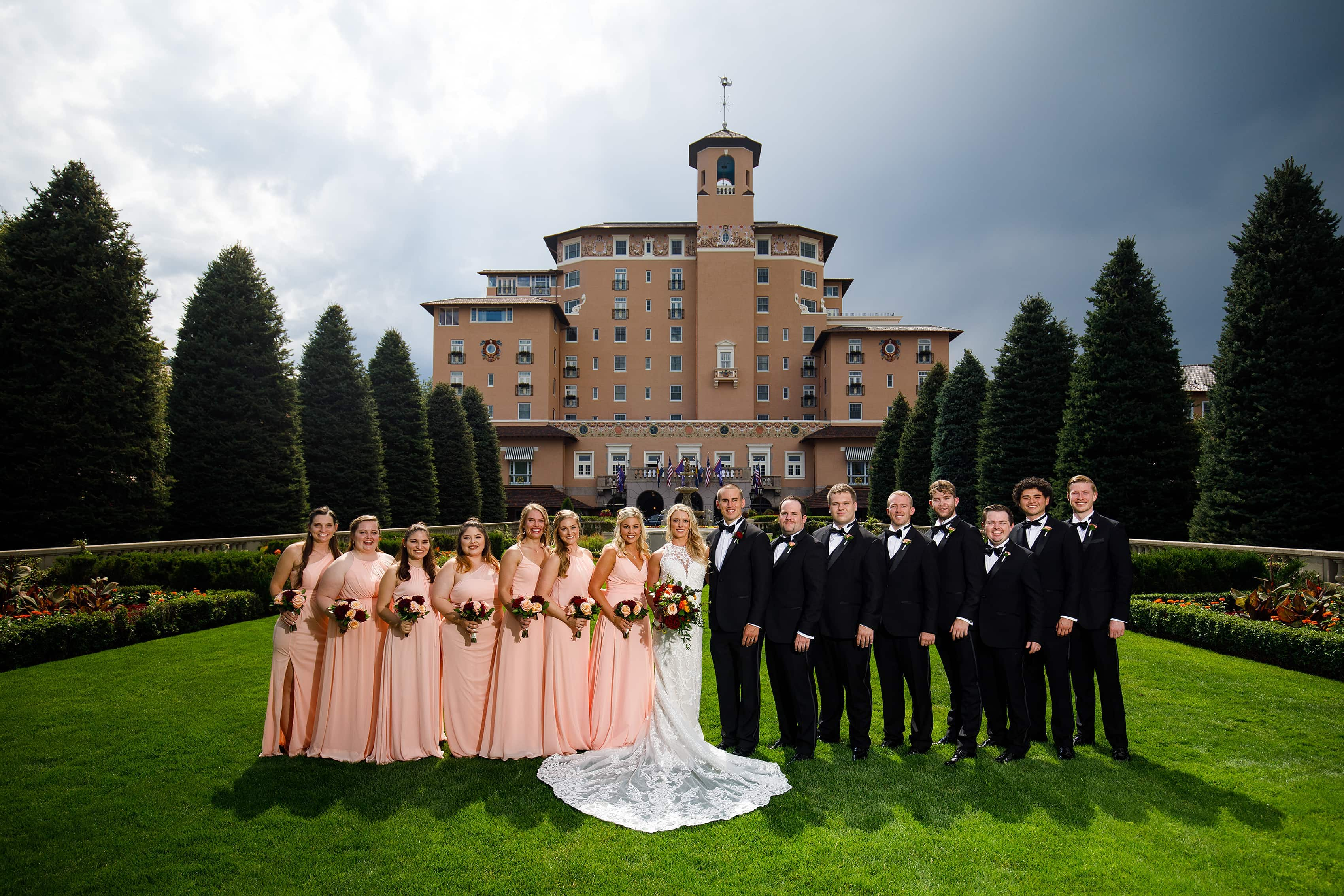 Wedding party at The Broadmoor front lawn