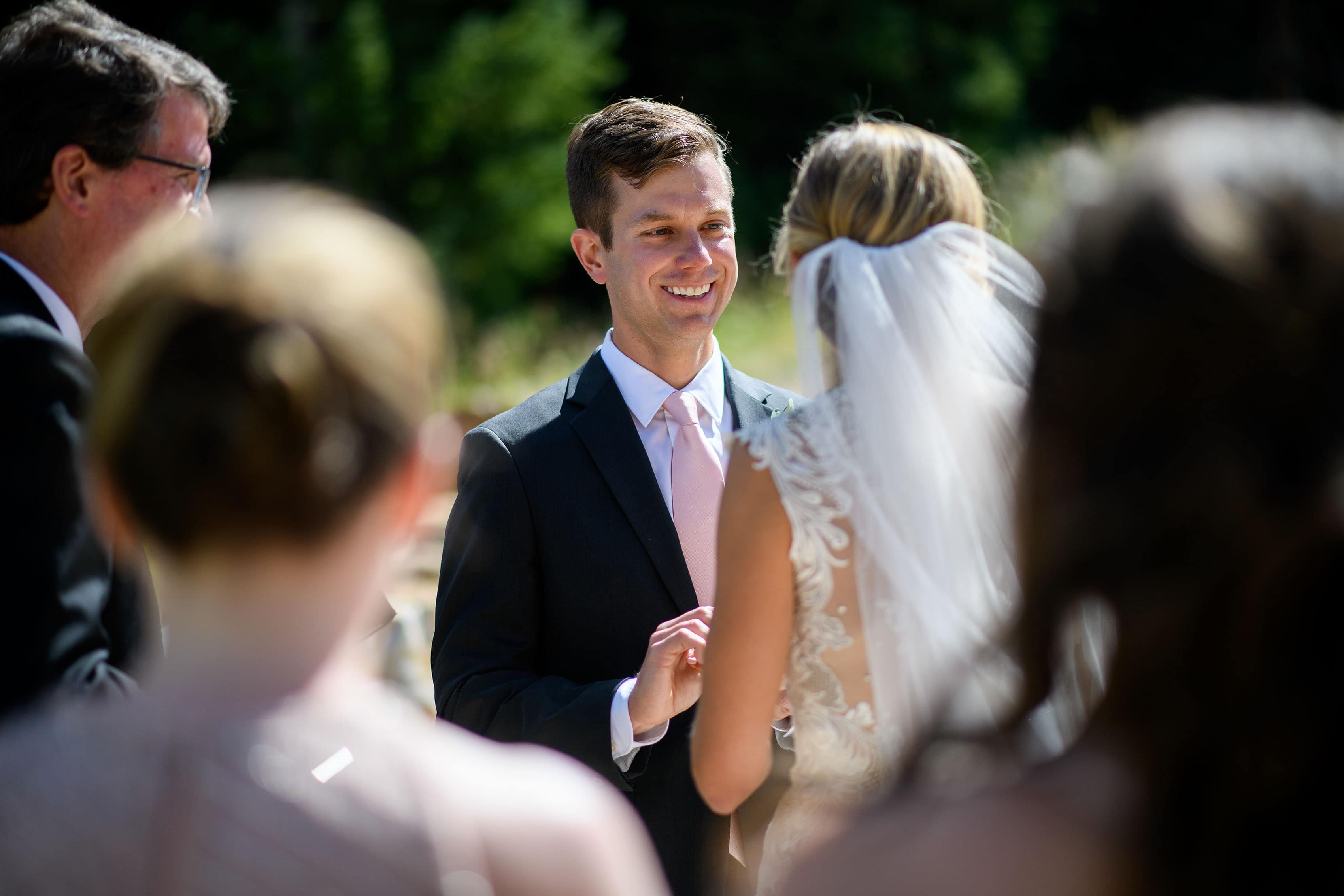 Drew smiles during the wedding ceremony