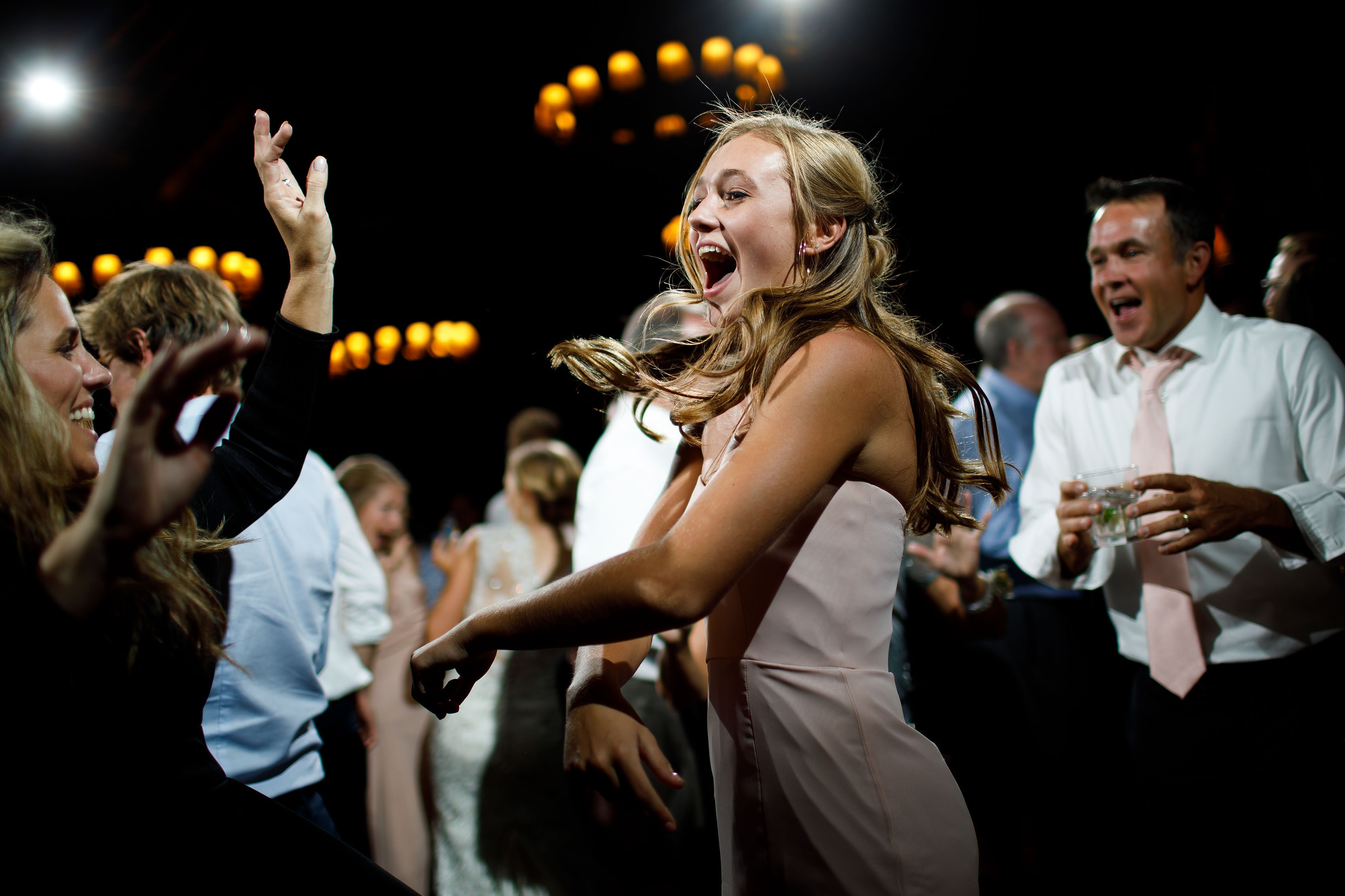 Guests dance during a wedding at Saddleridge in Beaver Creek