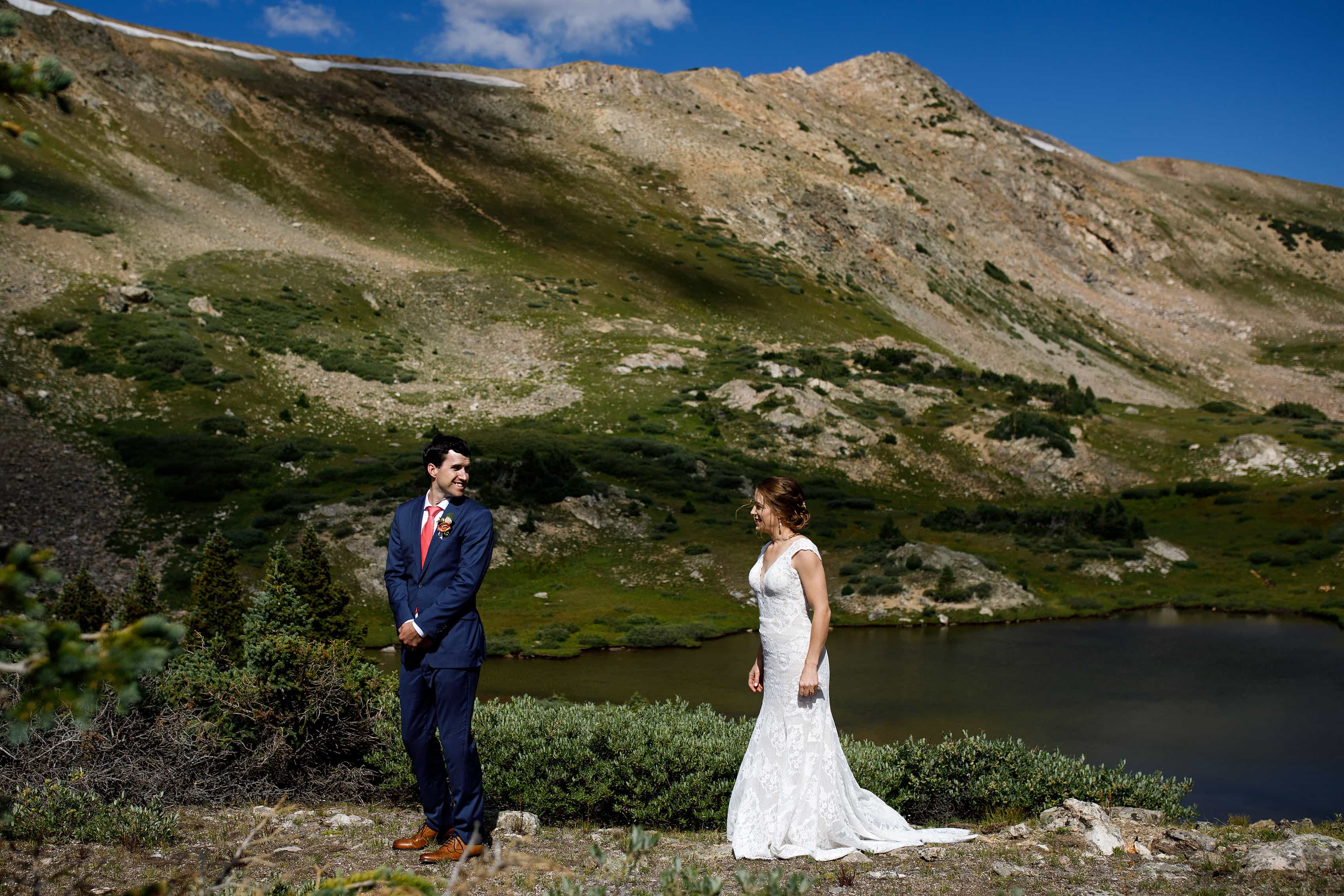 Wedding day first look on Loveland Pass