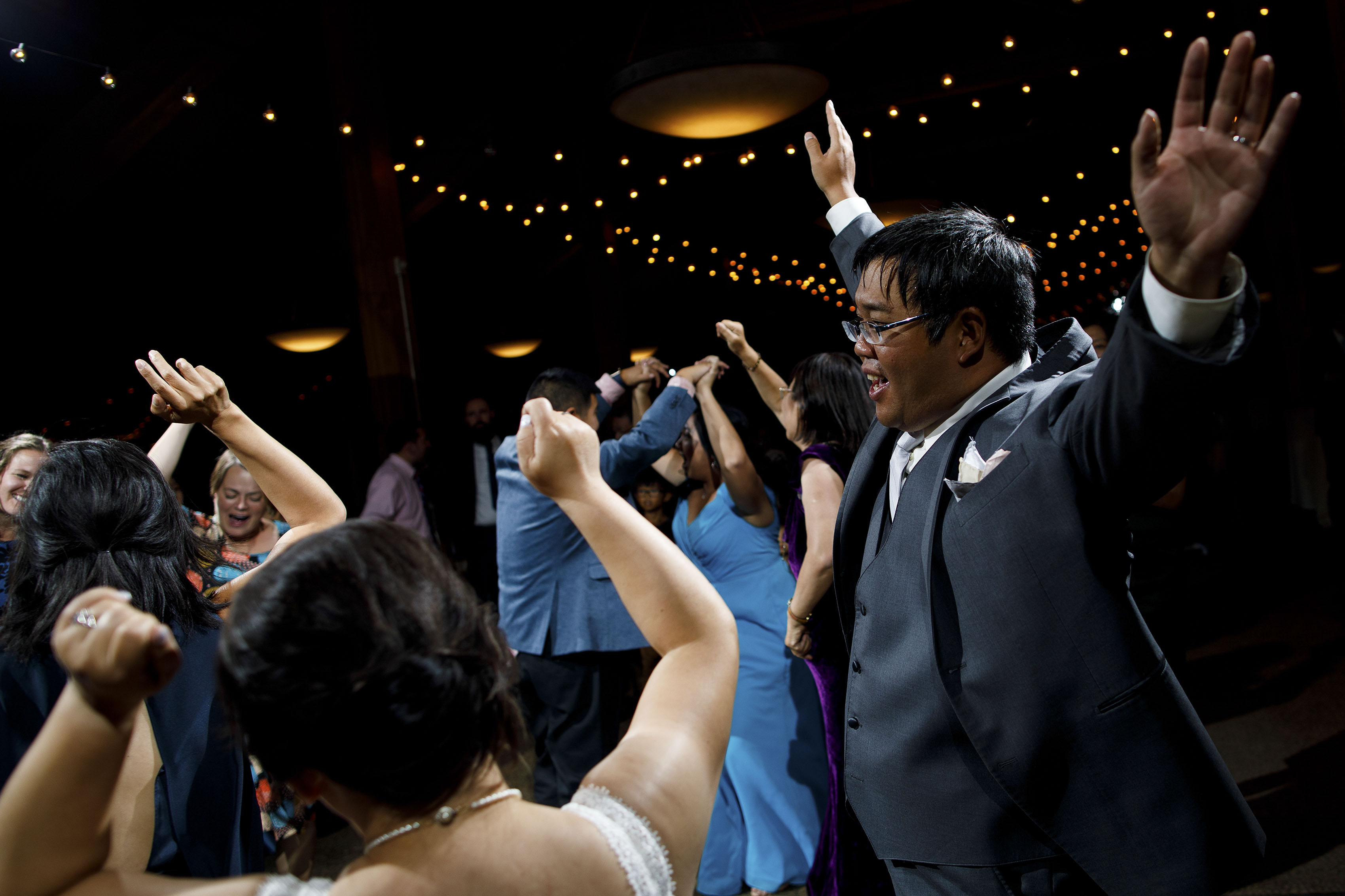 Wedding guests dance at A Basin