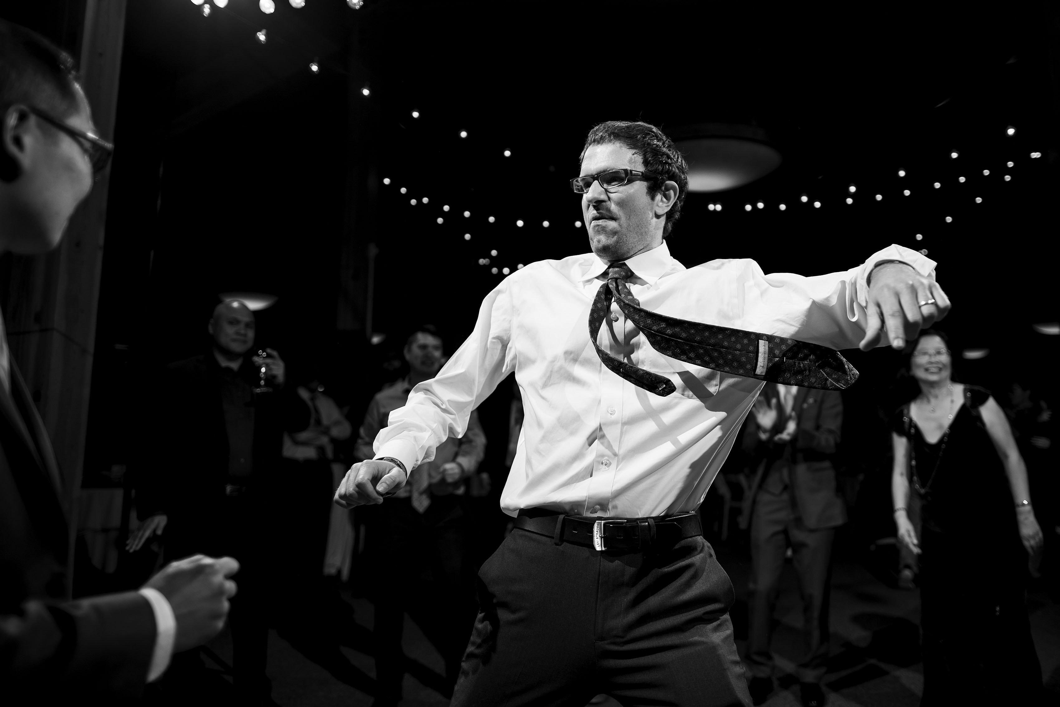 Wedding guests dance at A Basin