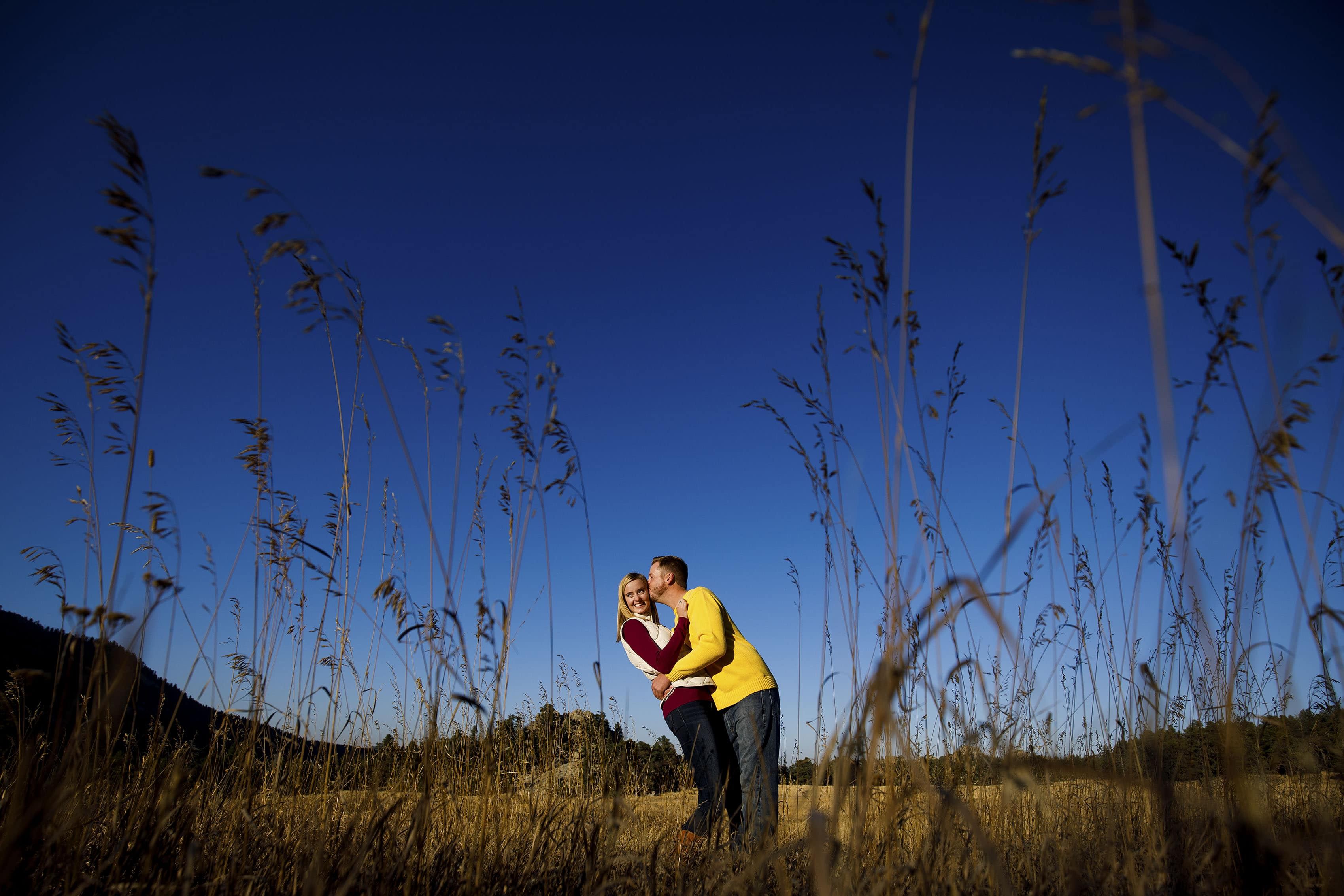 Stefan kisses Jennifer in the long grass during their fall engagement photos at Alderfer Three Sisters