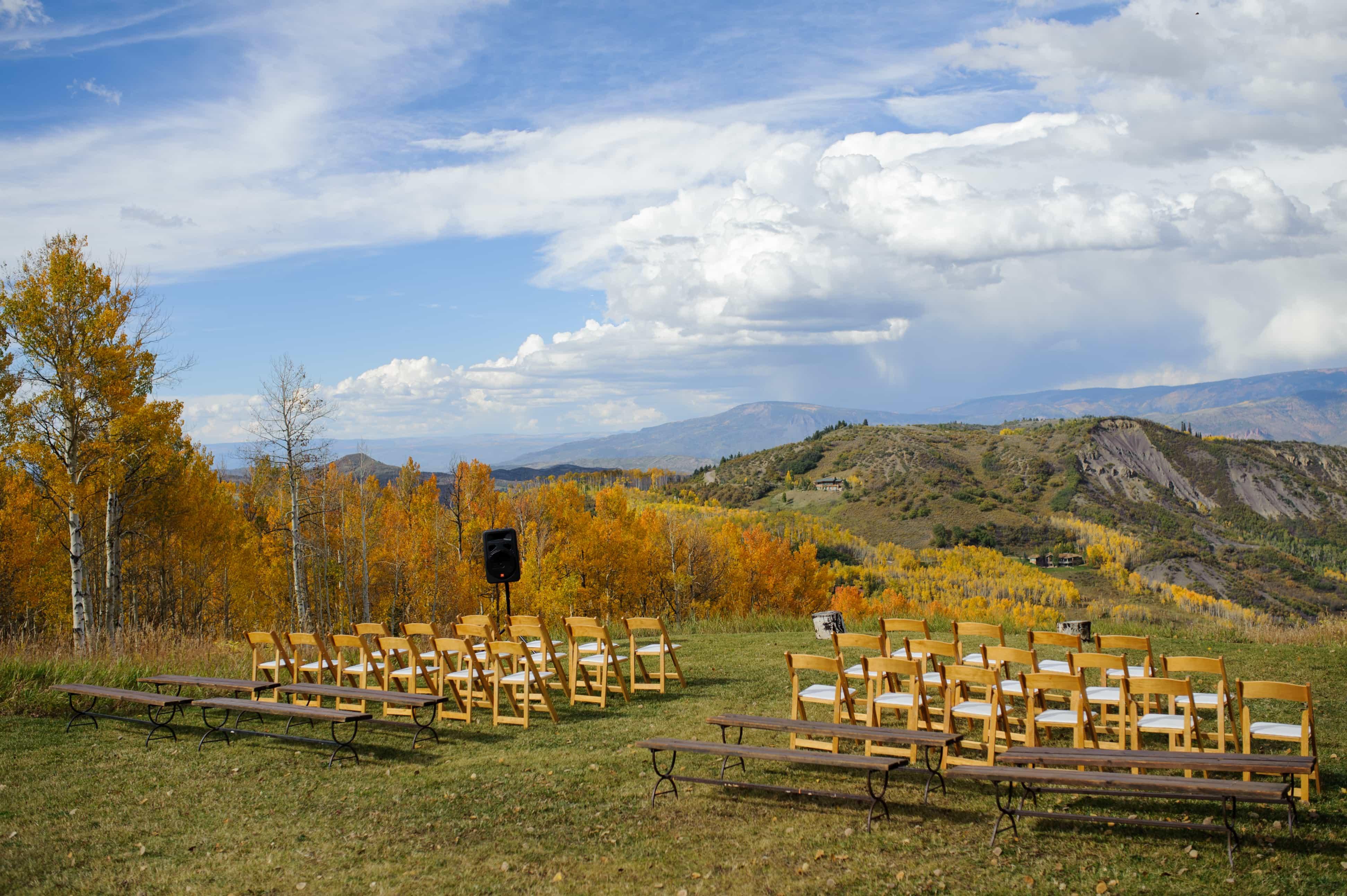 Wedding ceremont site at Lynn Britt Cabon on Snowmass Mountain