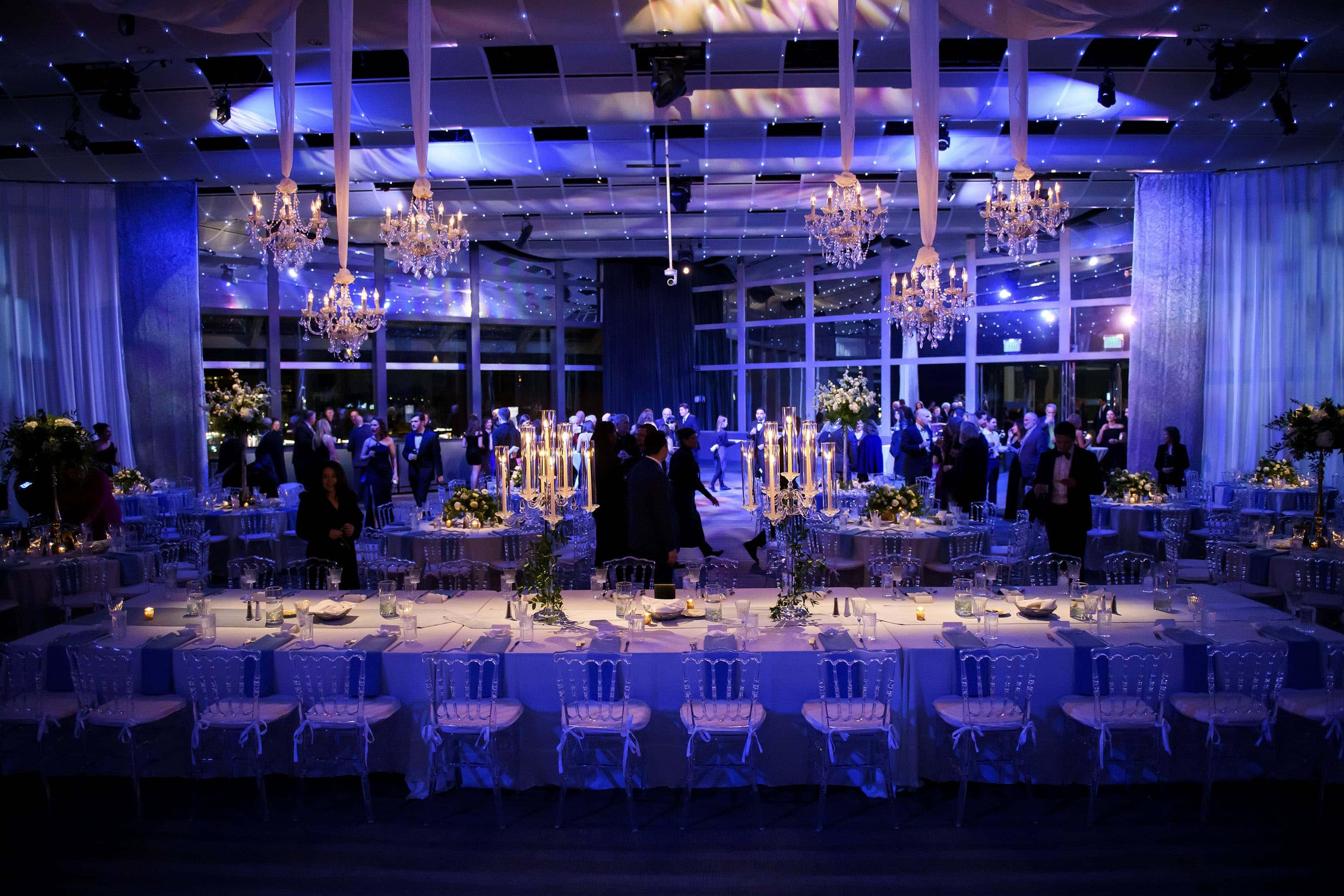 Seawell Ballroom setup for a Greek wedding reception