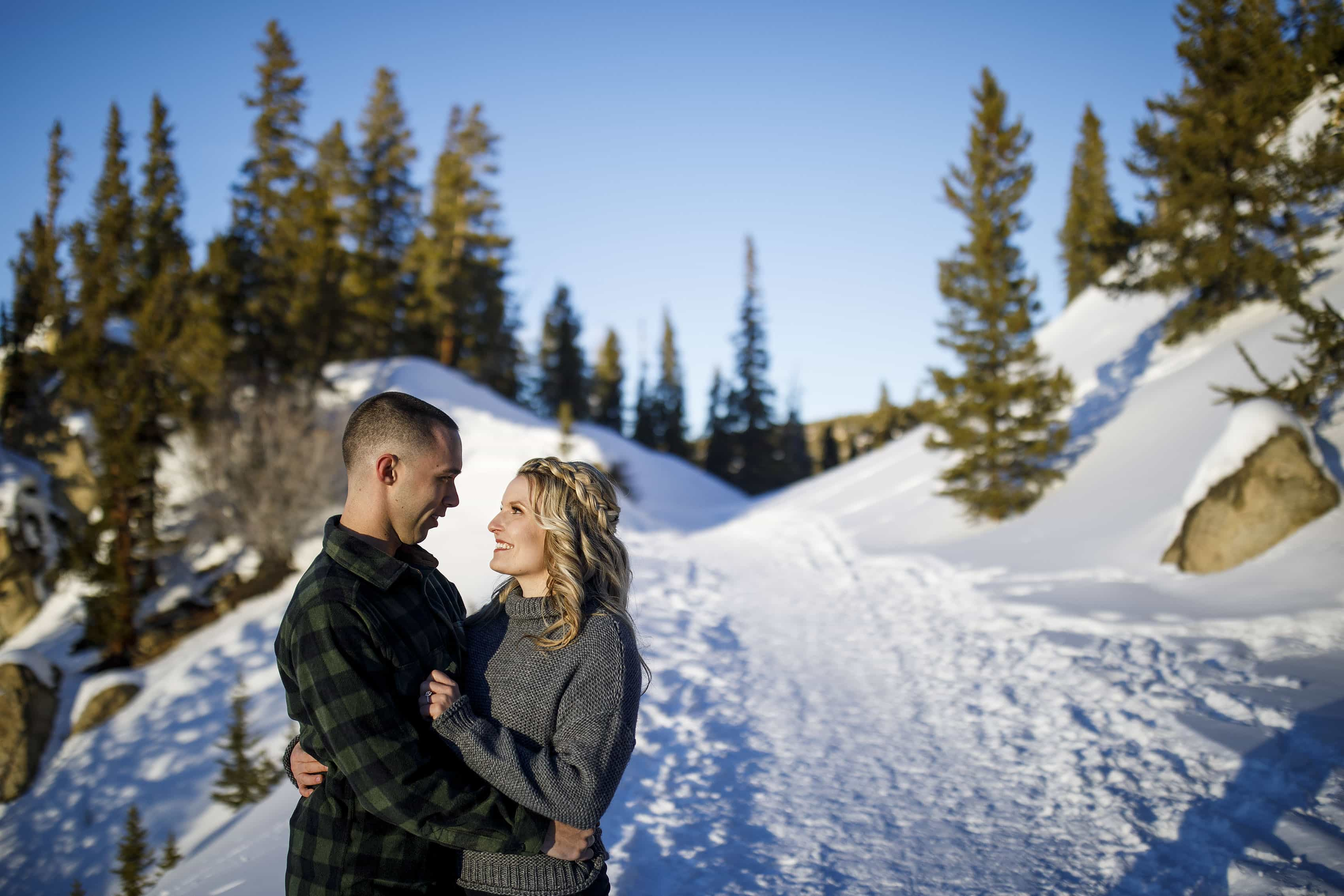 Breckenridge Engagement in the snow along Boreas Pass ROad