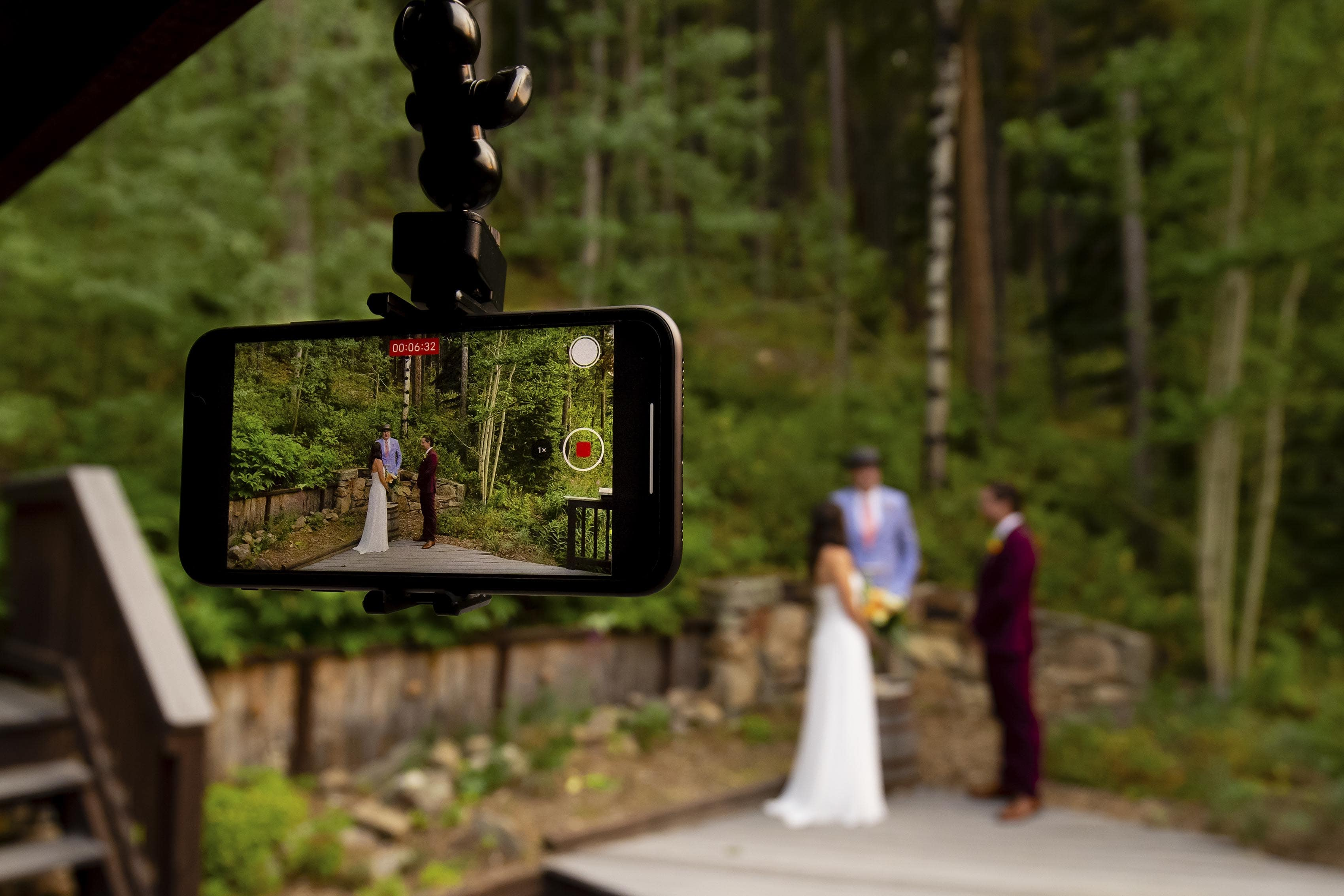 zoom elopement recording on a phone