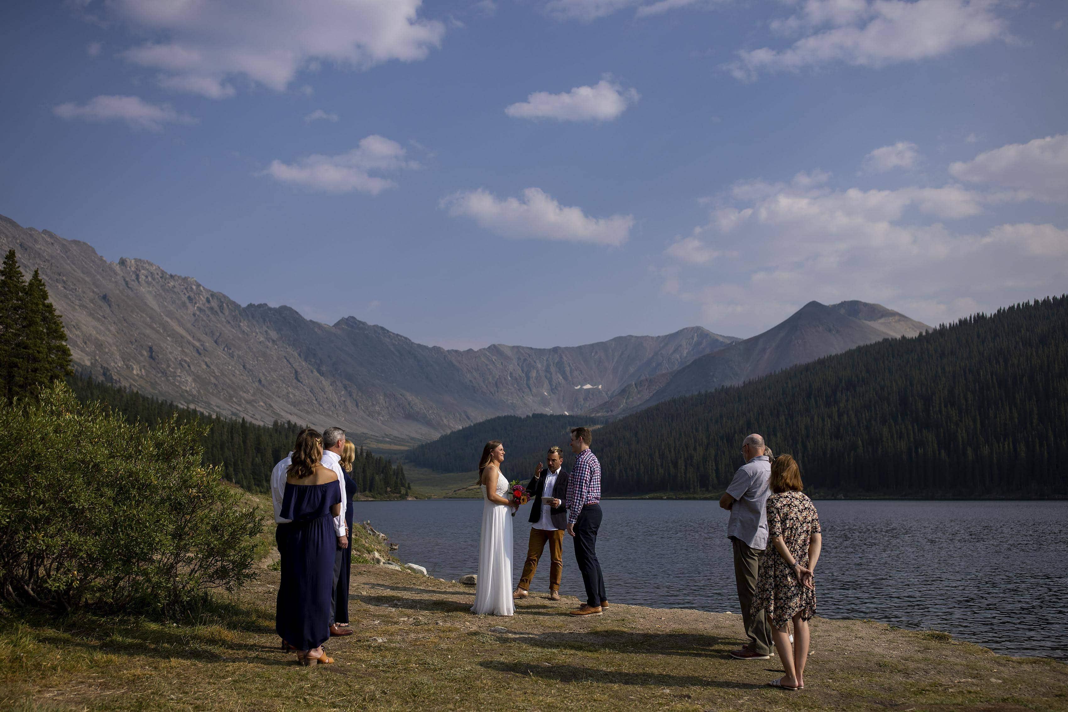 Mel and Drew summer wedding at Clinton Gulch Dam Reservoir in Leadville, Colorado