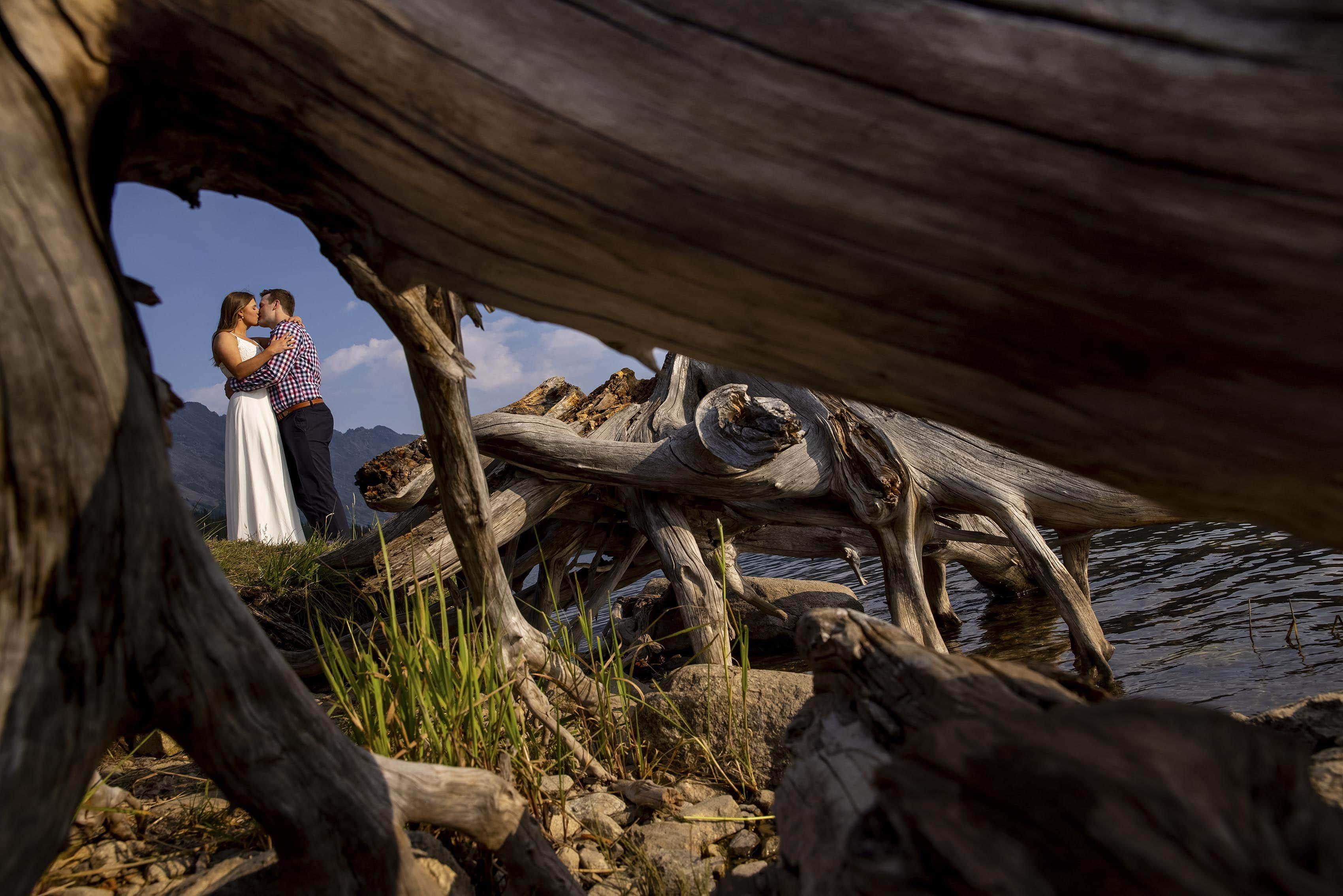 The newlyweds share a kiss near driftwood at the waterÕs edge of Clinton Gulch Dam Reservoir