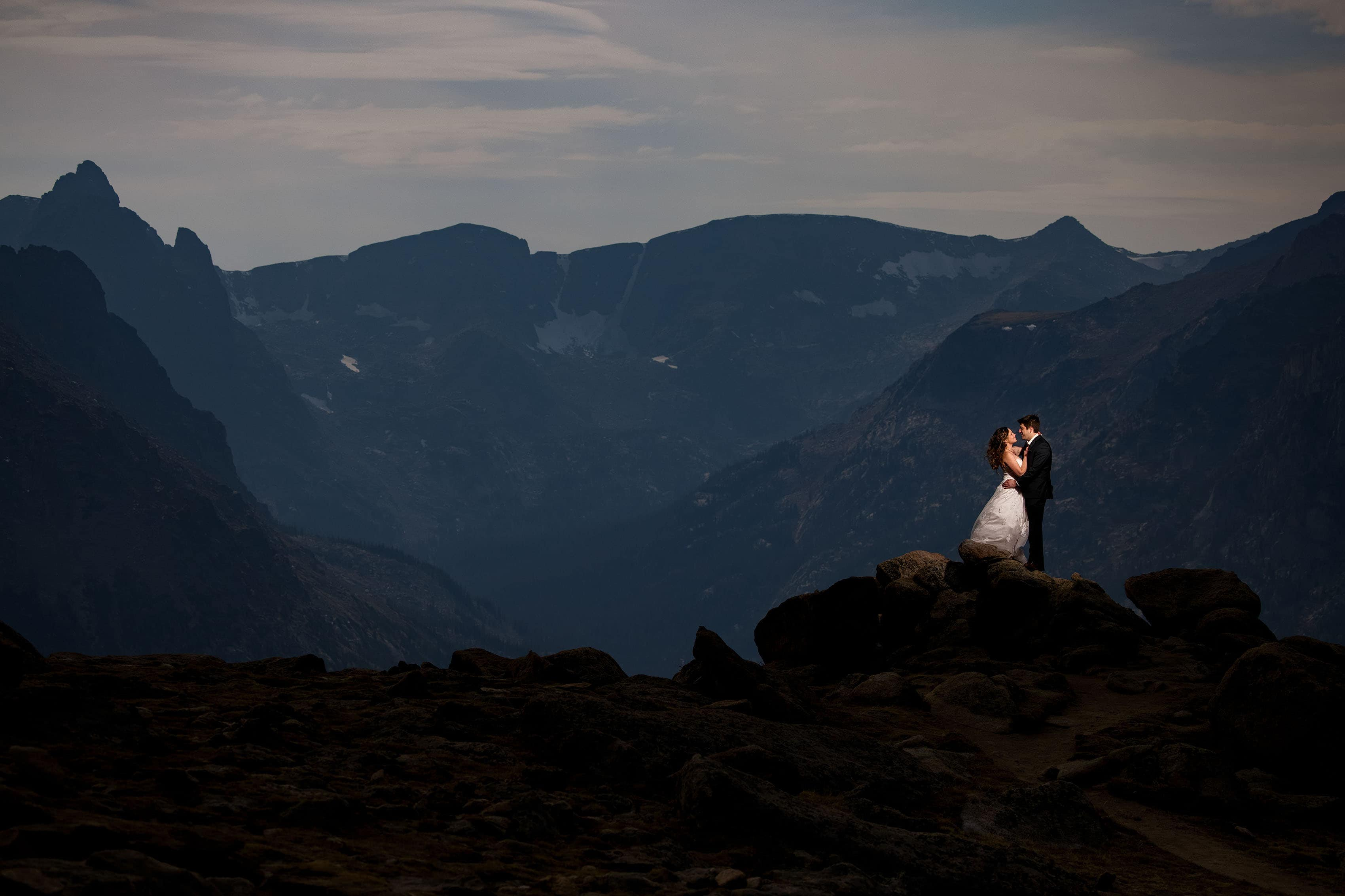 Chris and Madeline share a moment together atop Trail Ridge Road in Rocky Mountain National park