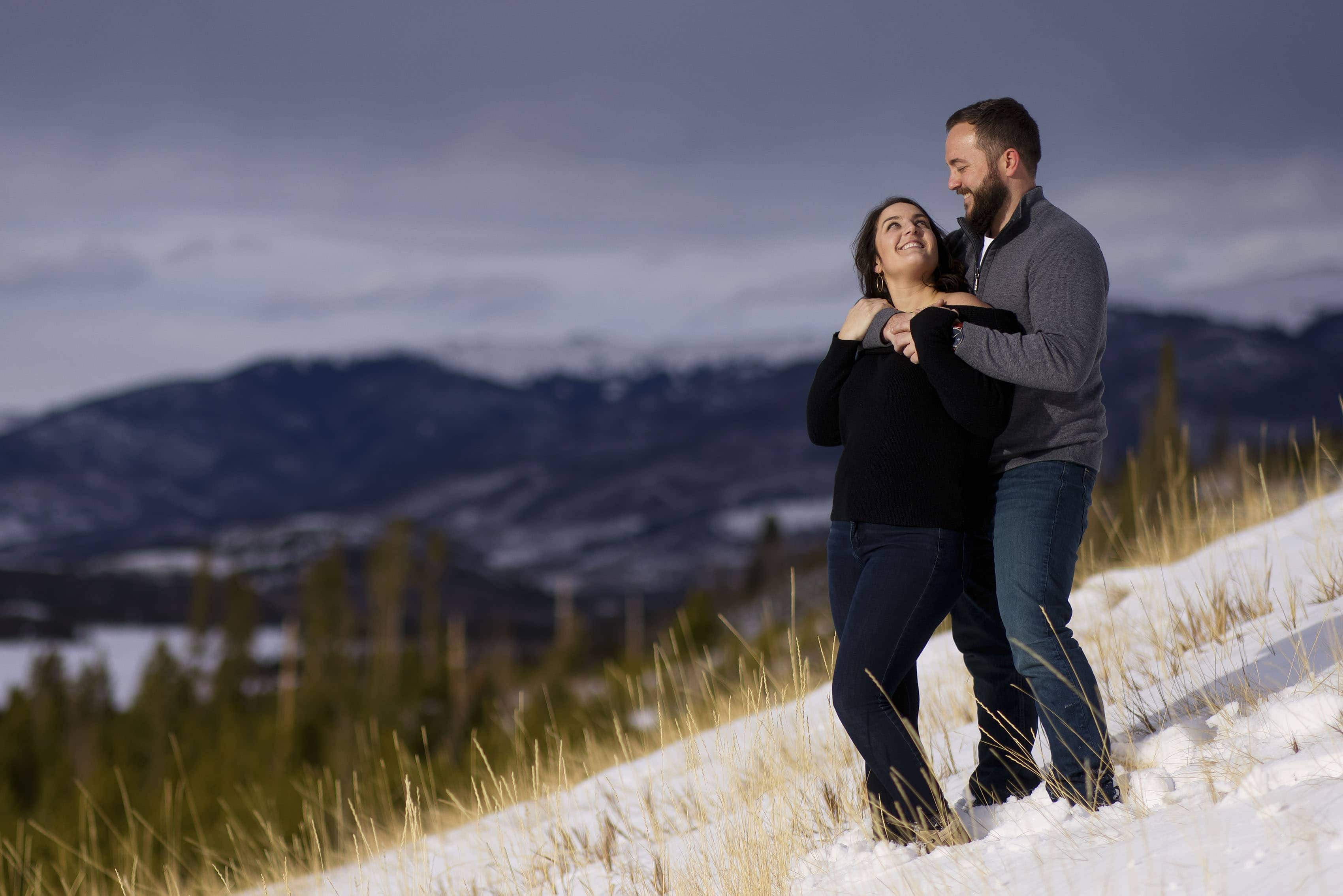 Bethany and Nick enjoy a moment together in Frisco, Colorado during their engagement photos